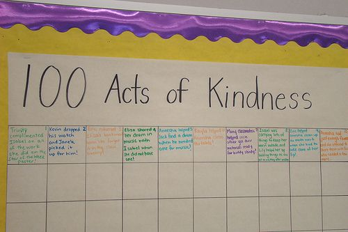 100th day...100 acts of kindness  Start this at the beginning of the school year.