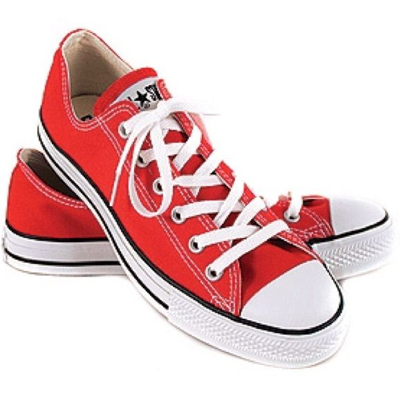 Brand New Red Converse Women''a size 7 converse. Only been worn once for a few hours indoors. New with box. Converse Shoes Sneakers