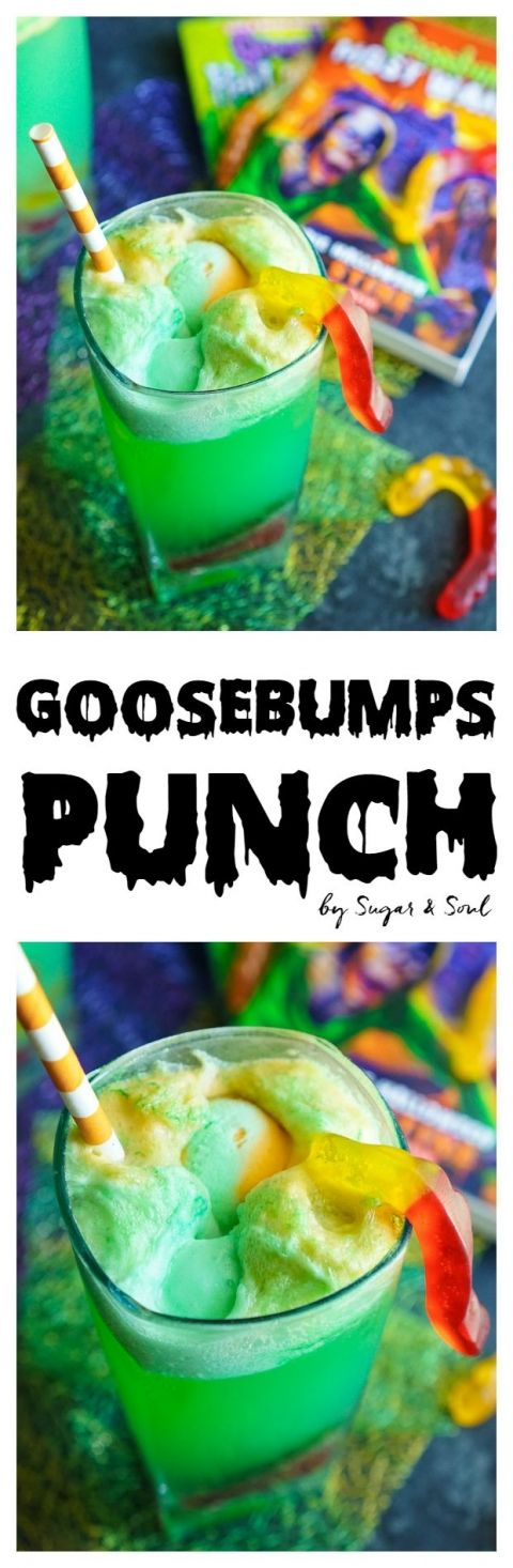 This Goosebumps Punch is an easy drink made with just 4 ingredients! It's the perfect addition to Halloween parties too!