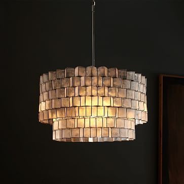 Capiz Zigzag Chandelier #westelm $379 I've installed this one before and it looked great and glam.