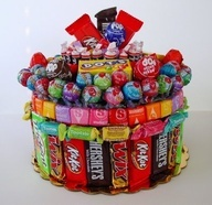 DIY- How to make a Candy Cake~ fun gift idea for birthdays or holidays- even use it as part of your centerpiece, with a balloon tied to it!