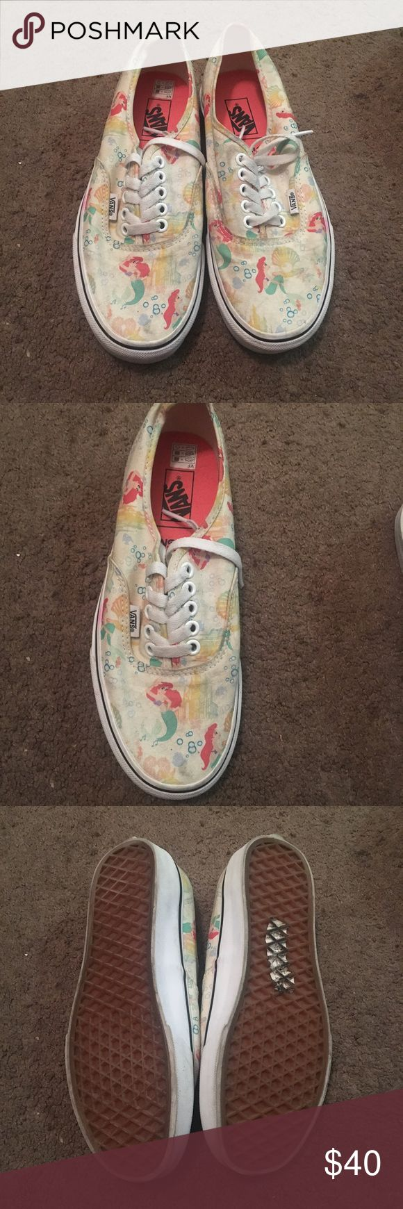"""""""The Little Mermaid"""" Limited Edition Vans Hard to find Disney x Vans collaboration for this """"The Little Mermaid"""" Shoe. Needs clean up but otherwise in GUC. Will not include original packaging.  All shoes sold as is. Will not be able to clean prior to shipping. Please feel free to ask questions prior to purchasing. Vans Shoes Sneakers"""