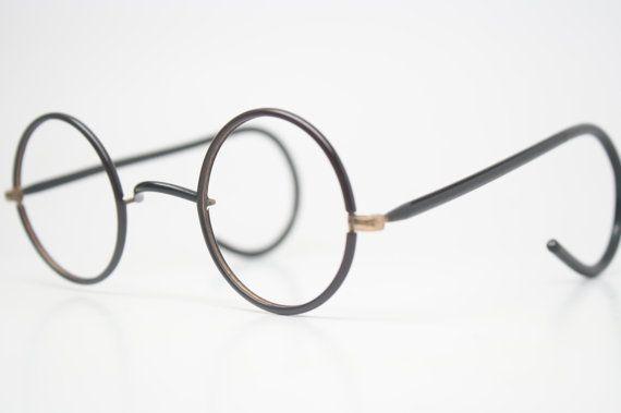 4eab9b23c417 Antique Eyeglasses Black   Gold Zyl Windsor Glasses New Old Stock Round  Glasses Vintage Eyeglass Frames John Lennon Glasses