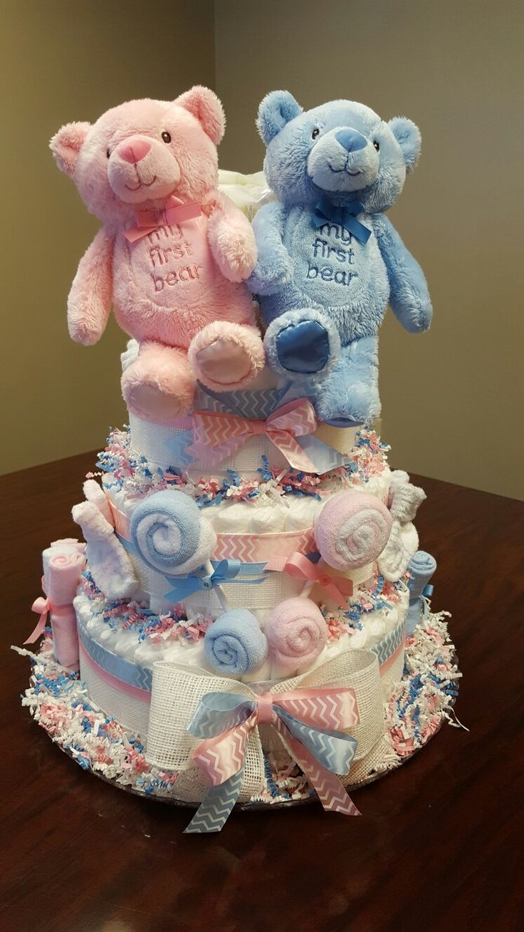 It's Twins! Twin Diaper cake, baby shower gift, pink and blue, teddy bears!  Boy/Girl twins diaper cake. Check out my Facebook page Simply Showers for more pics and orders.  https://m.facebook.com/adorablegifts