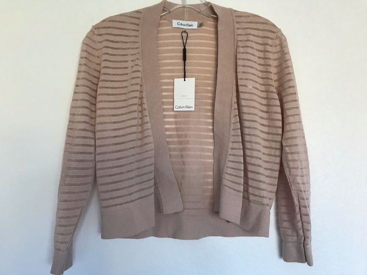 Calvin Klein NEW Women Size S Cropped Open-Front knit Cardigan Sweater Tan #1025 #CalvinKlein #Cardigan
