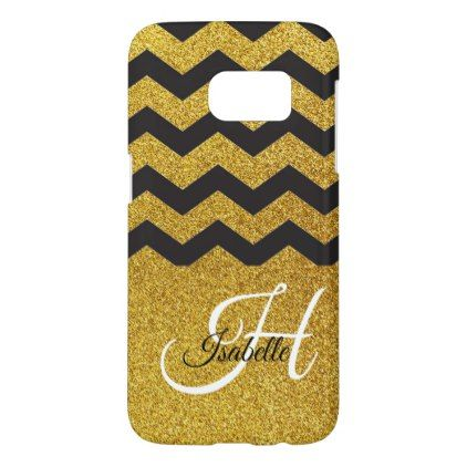 Glam Gold Glitter Chevron Samsung Galaxy S7 Case - glitter gifts personalize gift ideas unique