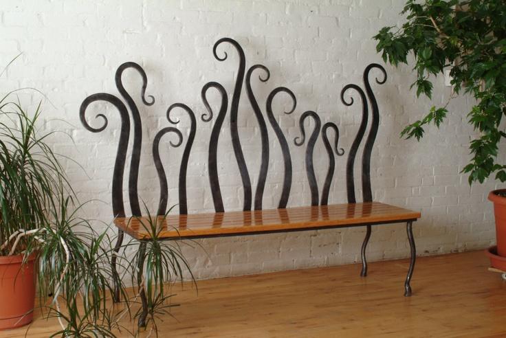 Abstract Wrought Iron Bench. $10,000.00, via UrthonaForge on Etsy.