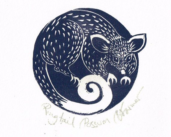 Australian Ringtail Possum Linocut Lino by BridgetFarmerArtist, $25.00