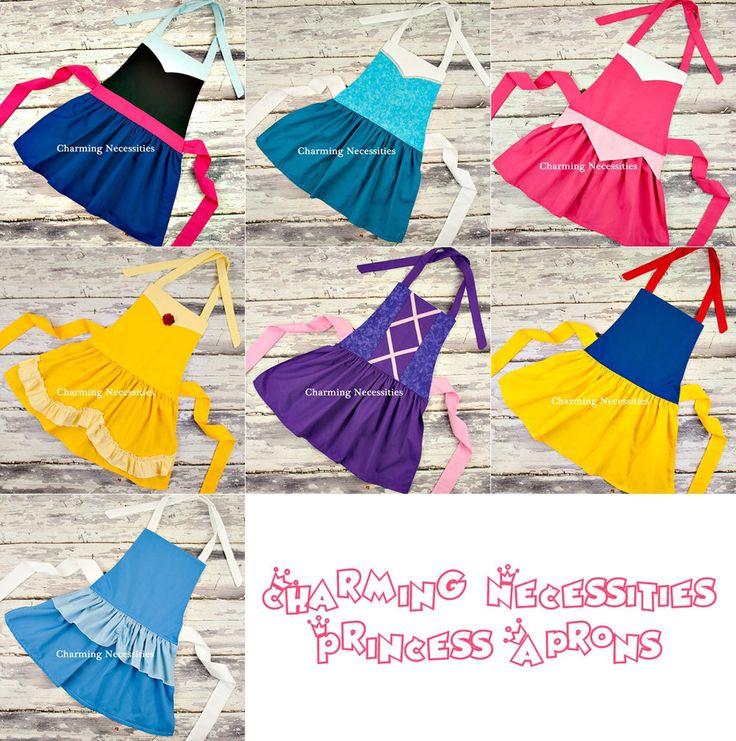 Girls Princess Apron Pretend Play Dress Up Baking, Inspired by Cinderella Snow White Elsa Anna Rapunzel Aurora Belle by CharmingNecessities on Etsy https://www.etsy.com/listing/211158342/girls-princess-apron-pretend-play-dress