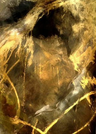 Golden Cave #artleanda #art #abstract #acrylic #painting