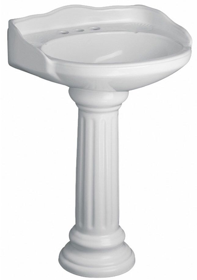 Vicki Vitreous China Oval Pedestal Bathroom Sink With Overflow