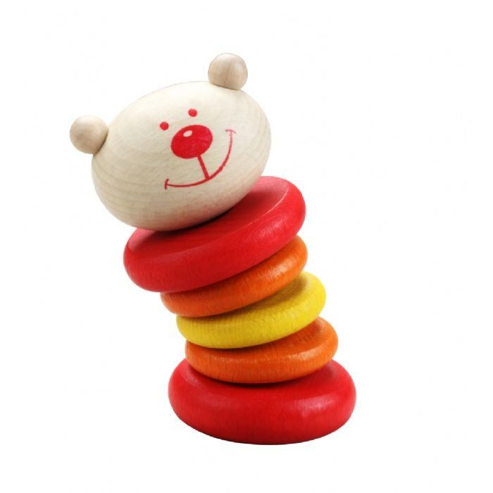 WOODEN TEDDY BEAR RATTLE  Shake up Baby's playtime with a colourful wooden rattle, created especially for little inquisitive hands. It's bright, it's wooden and it will quickly become a favourite.