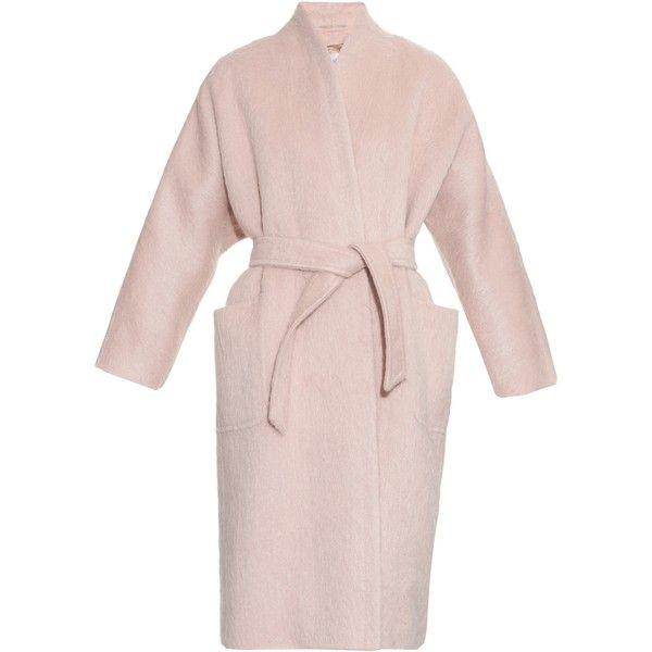 Max Mara Pulvino coat found on Polyvore featuring outerwear, coats, coats & jackets, jackets, max mara, light pink, light pink coat, tie belt, cocoon coat and maxmara