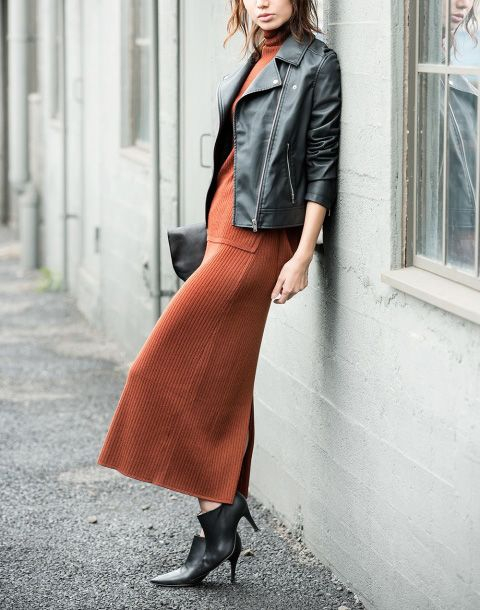 Merino Blend Turtleneck Sweater and Skirt   Knit from a fine Merino wool that's…