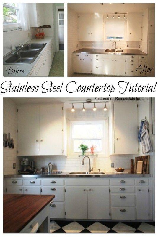 Stainless Steel Countertop tutorial #DIY