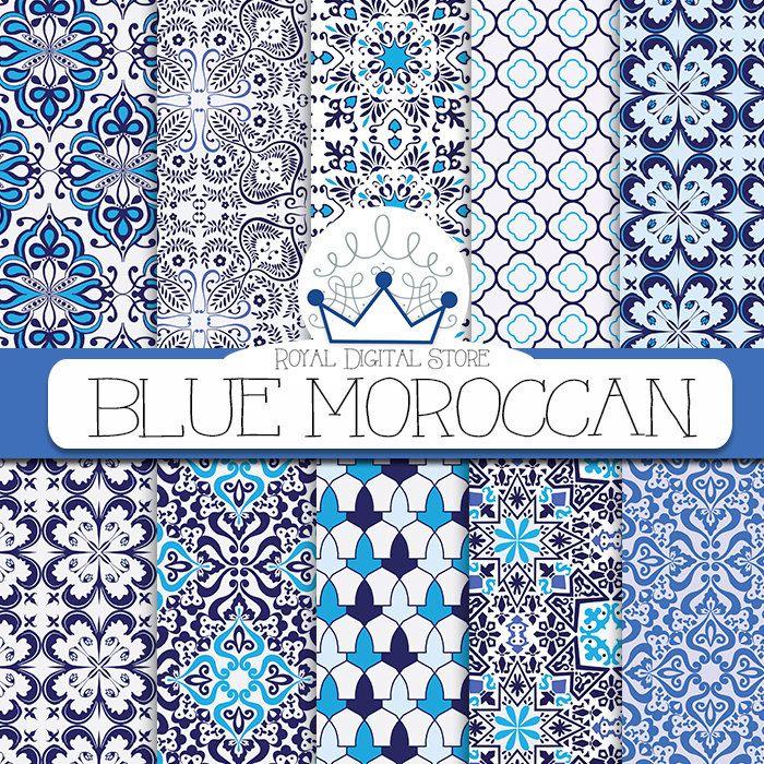"Blue Mosaic Digital Paper: ""Blue Moroccan Digital Paper"" with blue moroccan mosaic, blue arabesque, blue mosaic tiles #blue #moroccan #planner #white #damask"