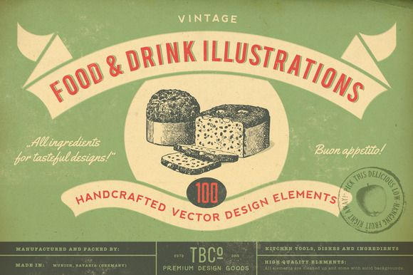 100 Vintage Food Illustrations by The Beacon Collection on @creativemarket