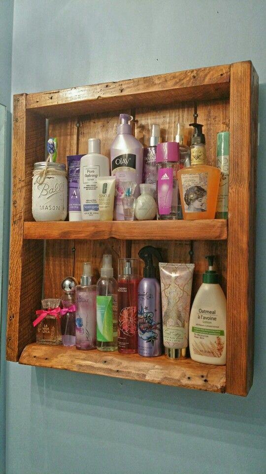 Pallet shelf for the bathroom.