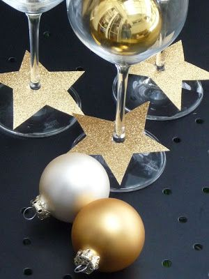 glittery stars as glass decorations for Christmas or New Year