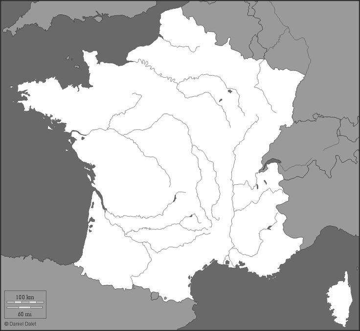 France : Carte muette, fond de carte, littoraux, frontières, hydrographie (grisé)