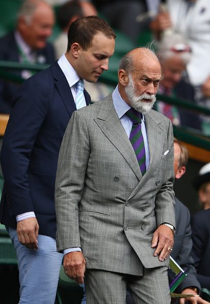 (R) Prince Michael of Kent and his son  Lord Frederick Windsor (L) during day nine of the Wimbledon Lawn Tennis Championships at the All England Lawn Tennis and Croquet Club on July 8, 2015 in London, England.