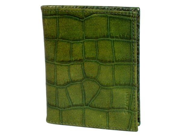 Leather credit card holder in crocodile print green