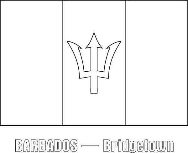 Barbados Coloring Flag Pages 2020 Paginas Para Colorir