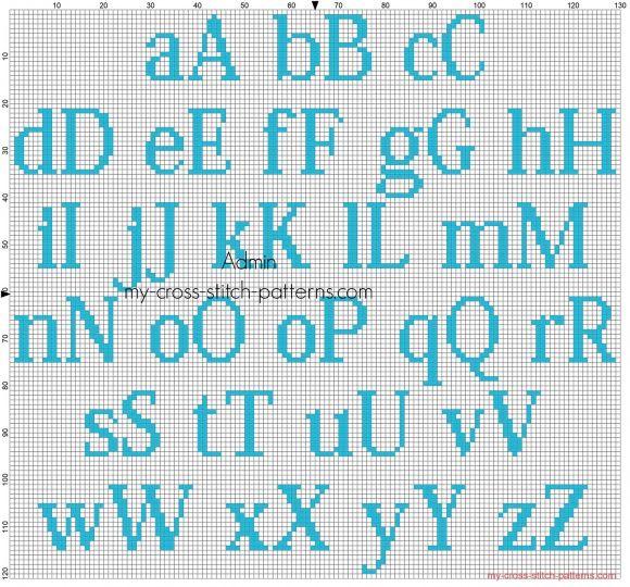 Alphabet point de croix Kozuka Mincho hauteur 20 couleur bleue DMC 996