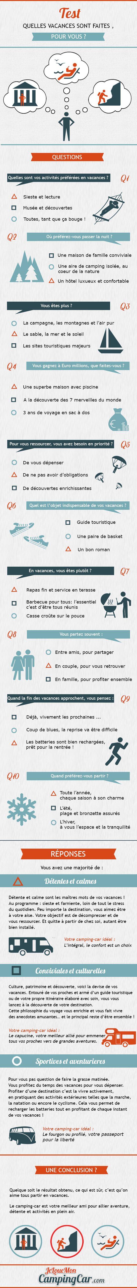 Infographie test - Trouvez le type de vacances qu'il vous faut ! travel infographie