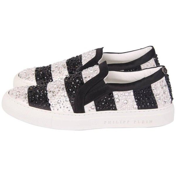 Preowned Philipp Plein Slip-on Sneakers Crystal - Silver & Black (741,960 KRW) ❤ liked on Polyvore featuring shoes, sneakers, black, philipp plein sneakers, slip on sneakers, black slip-on sneakers, slip-on sneakers and black slip on sneakers