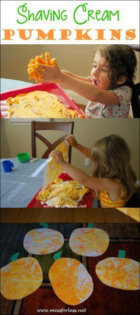 Easy to make Shaving Cream Pumpkins. Fun Halloween activity for kids.