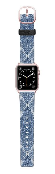 Casetify Apple Watch Band (38mm) Saffiano Leather Watch Band - Denim Blue Lace Pencil Doodle Strap by Micklyn Le Feuvre