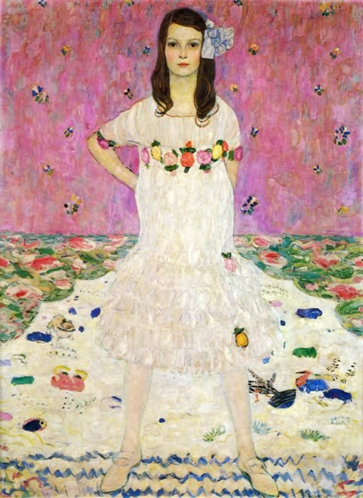 """Klimt: """"Portrait of Mäda Primavesi"""" (The Metropolitan Museum of Art, NYC)    Questions to ask children:   What colors are the flowers on her dress?  What do you think she is thinking?"""