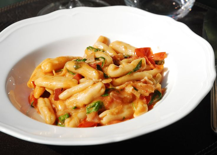 David Rocco: Cavatelli (or other short pasta) with Cherry Tomatoes, Pancetta, White Whine, Parmigiano-Reggiano + Rocket
