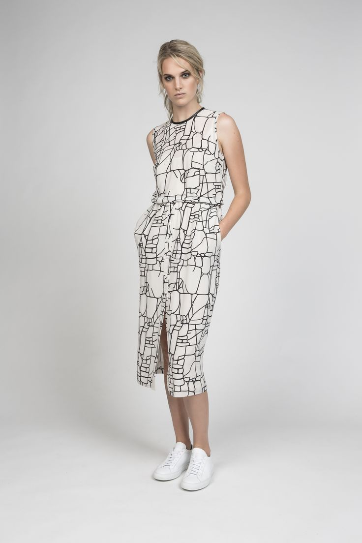winny dress in rock lines silk | desert storm s/s16