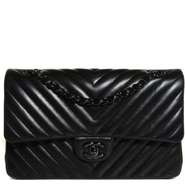 CHANEL Lambskin Chevron 11.12 Medium Double Flap So Black ❤ liked on Polyvore featuring bags, handbags, chevron handbag, shoulder bag purse, black chain purse, chanel handbags and chanel