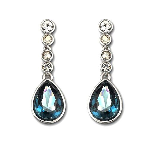 Swarovski Meringue Montana Pierced Earrings. Beautiful, sophisticated-looking earrings by Swarovski. These gorgeous rhodium-plated earrings will beautify any outfit. sparkling in shades of blue, the striking Montana crystal is accented by an elegant grade of crystal colors. Romantic Valentines Day Gift Ideas for Wife. #ValentinesDayGift  #GiftForWife #WifeGift #ValentinesGiftsForWife