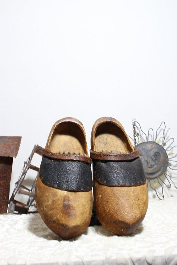 51aeac3ce530a Antique French /Dutch Sabot Wood Clogs with Leather Children Clogs ...