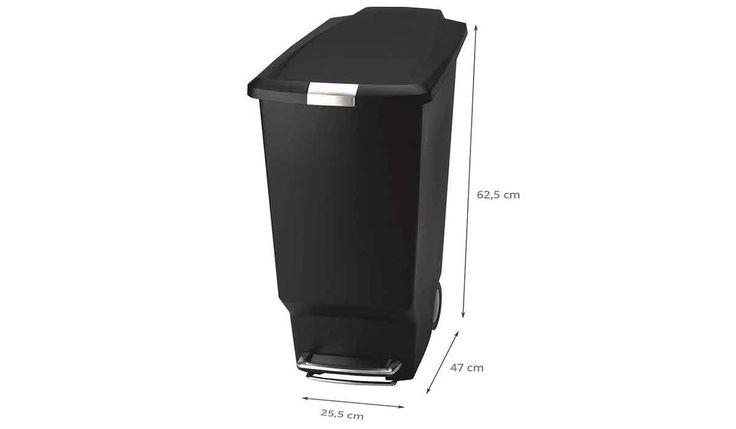 Poubelle noire à roues - 40 litres - Rangement cuisine