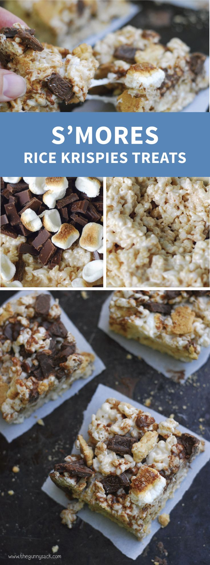 Check out these S'mores Rice Krispies Treats® for an ooey, gooey dessert recipe that the whole family can enjoy. Add mini marshmallows, graham crackers, and whole chocolate chunks to Rice Krispies® cereal to give this easy no-bake treat it's irresistible taste.