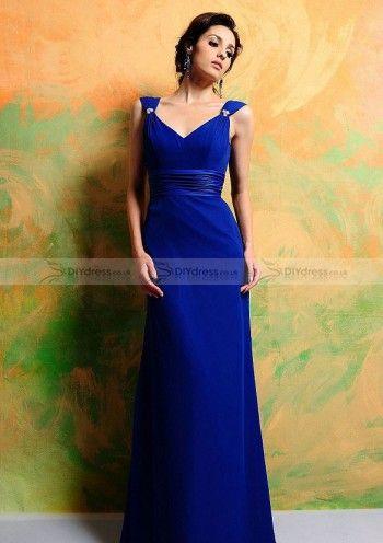 A-line V-Neck Floor-length Cap Sleeve Chiffon Bridesmaid Dresses