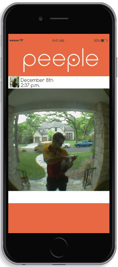 Peeple is a small camera that mounts on your existing peephole or sticks on the glass of your door.