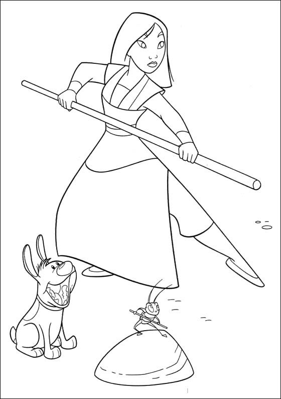 Mulan Practicing With Cricket Coloring Pages