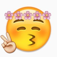 "Flower-crown peace sign emoji"" by Victoriawbu 