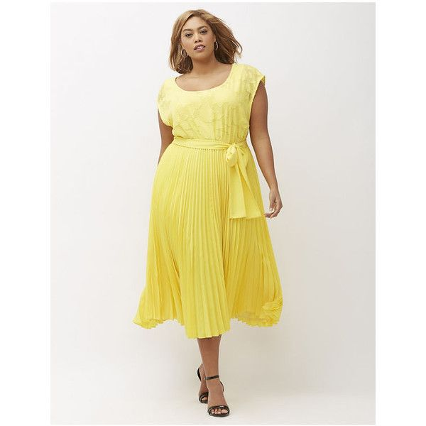 Lane Bryant Plus Size Pleated Dress, Women's, Size: 26/28, Primrose... ($120) ❤ liked on Polyvore featuring dresses, plus size, primrose yellow, plus size dresses, yellow dress, white keyhole dress, floral dress and plus size white dress
