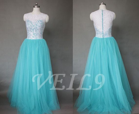 Tiffany Blue And Silver Wedding Dresses : Retro a line beach wedding dress long turquoise lace prom