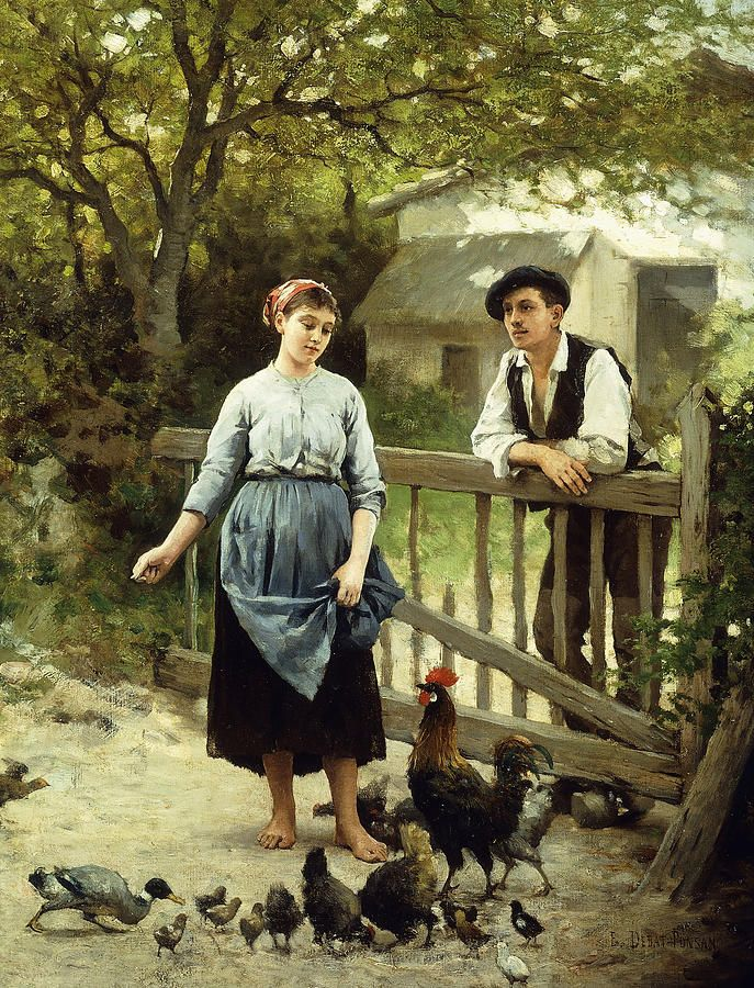 Hen Painting - Young Farmers by Edouard Bernard Debat-Ponsan