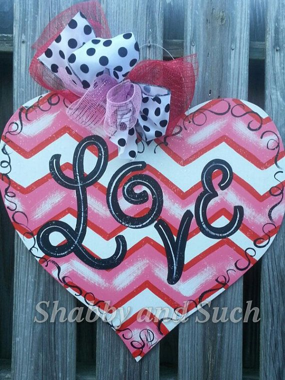 VALENTINE Chevron Door Hanger LOVE Happy by shabbyandsuchdesigns, $40.00