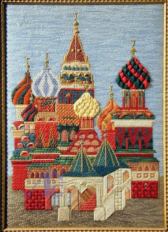 St. Basil's Cathedral  Stitcher: Carole Lake  Designer: Line drawing by the late Anne Jerlow for Tapestry Fair