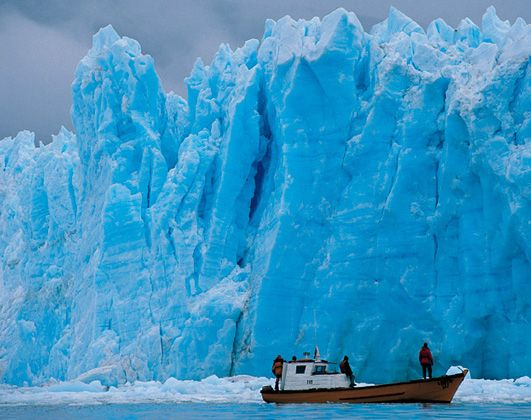 San Rafael lagoon, located in the Aysén region of Chile, is a popular tourism destination; ships sail to the lagoon nearly every day to see the ice falling from the glacier into the lagoon.